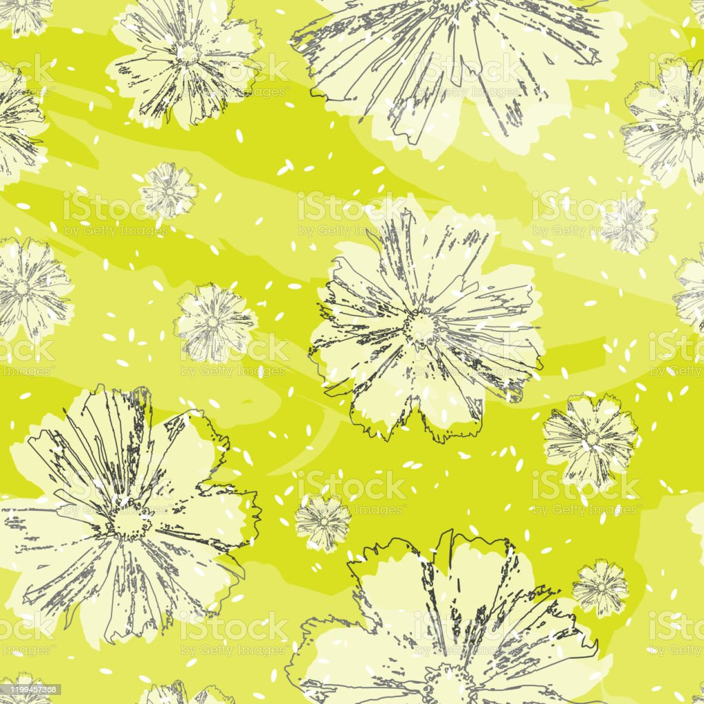 Floral Print Seamless Pattern Flowers On A Bright Yellow Background Spring Summer Floral Wallpaper Wrapper Cover Website Background Modern Creative Design Pattern Of Abstract Flower Vector Art Print Stock Illustration Download