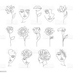 Flowers And Women In One Line Drawing Style Stock Illustration Download Image Now Istock
