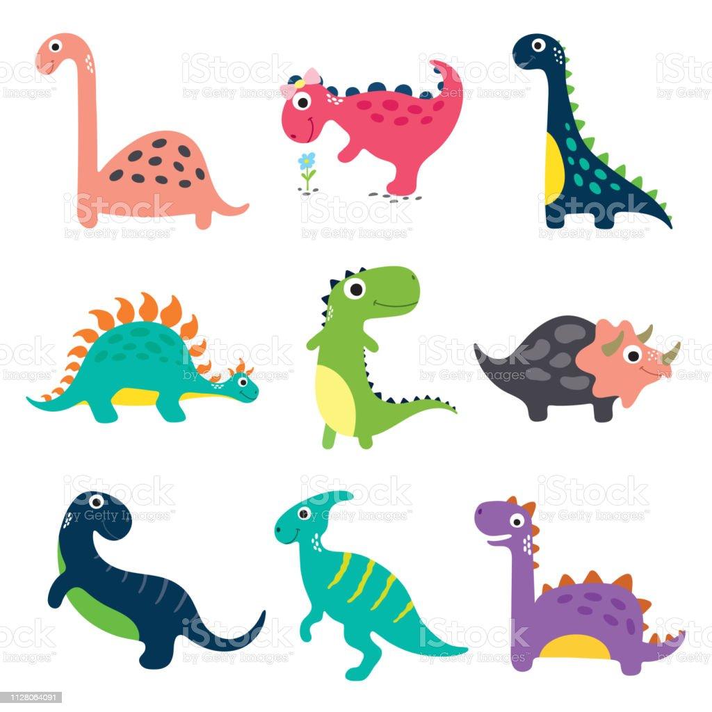 有趣的卡通恐龍收藏向量圖形及更多三角龍屬 - 角龍下目圖片 - iStock
