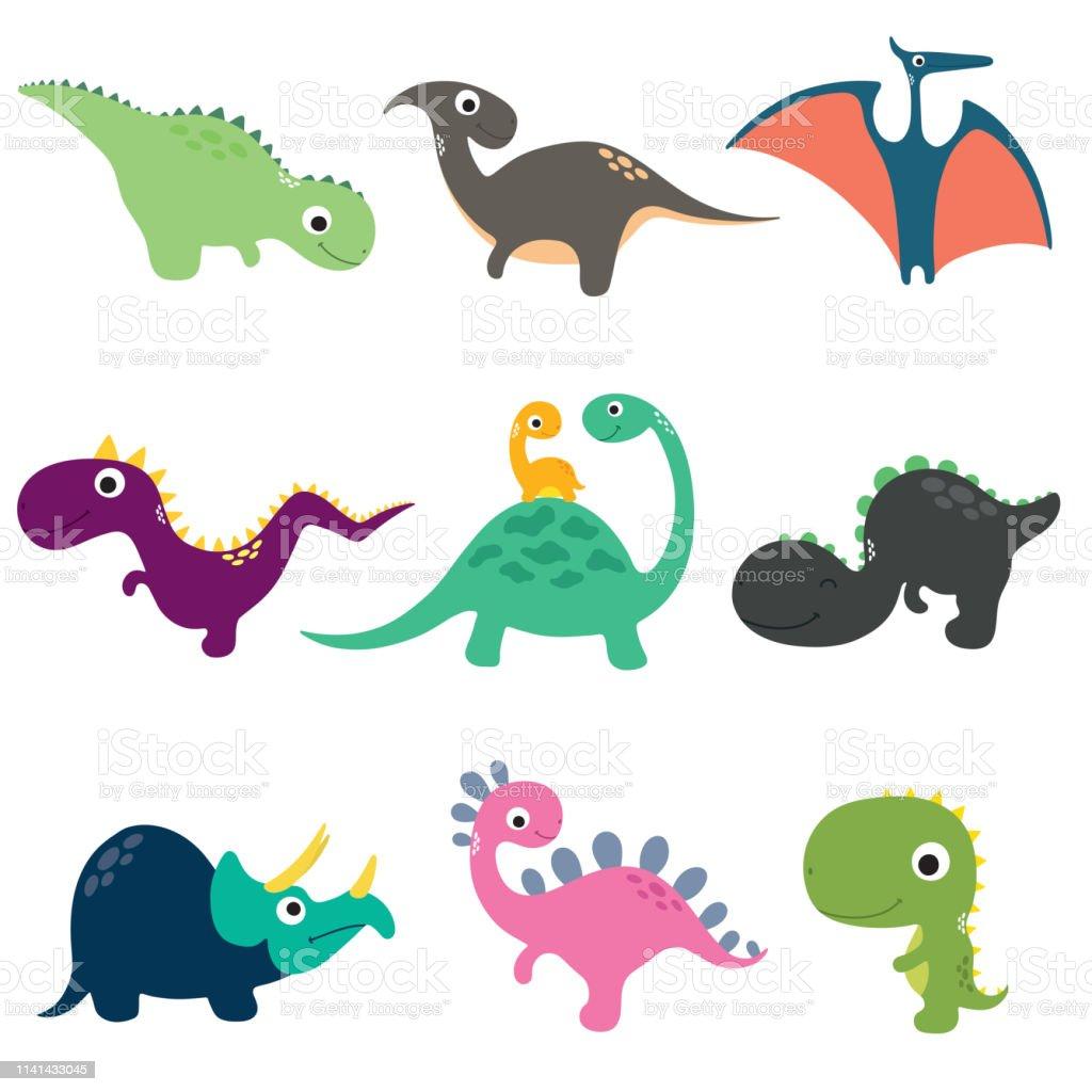 有趣的卡通恐龍收藏向量例證向量圖形及更多三角龍屬 - 角龍下目圖片 - iStock