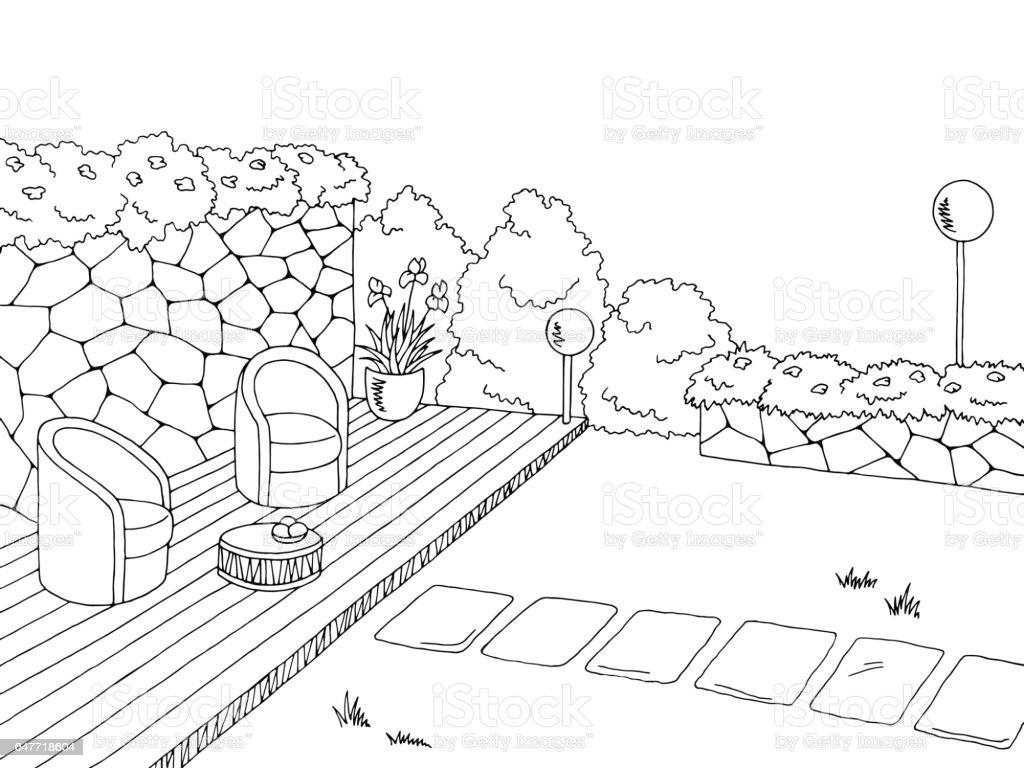 jardin graphique noir blanc croquis illustration vecteur vecteurs libres de droits et plus d images vectorielles de allee de jardin istock