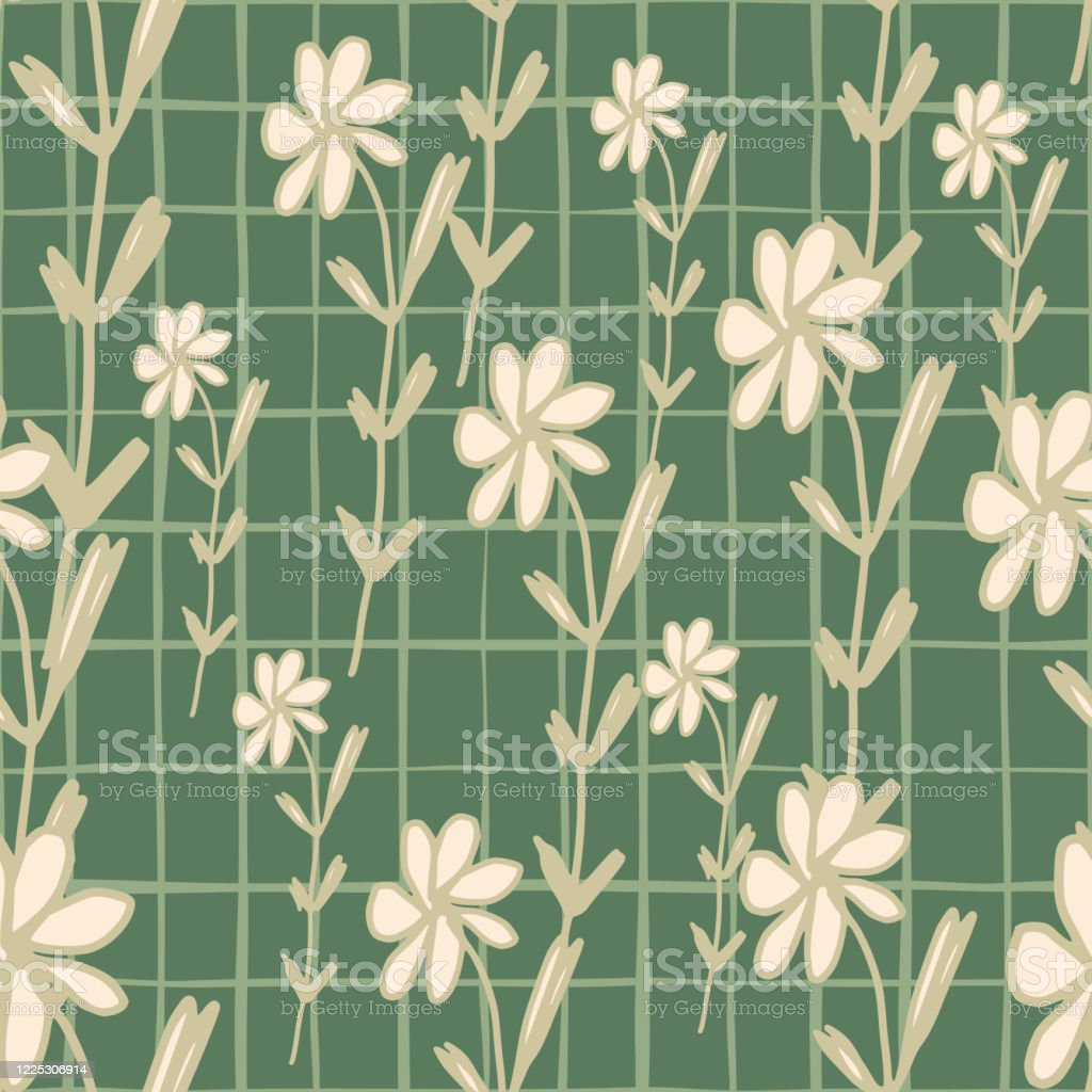Geometric Flowers Seamless Pattern In Sketch Style Vintage Floral Wallpaper Stock Illustration Download Image Now Istock