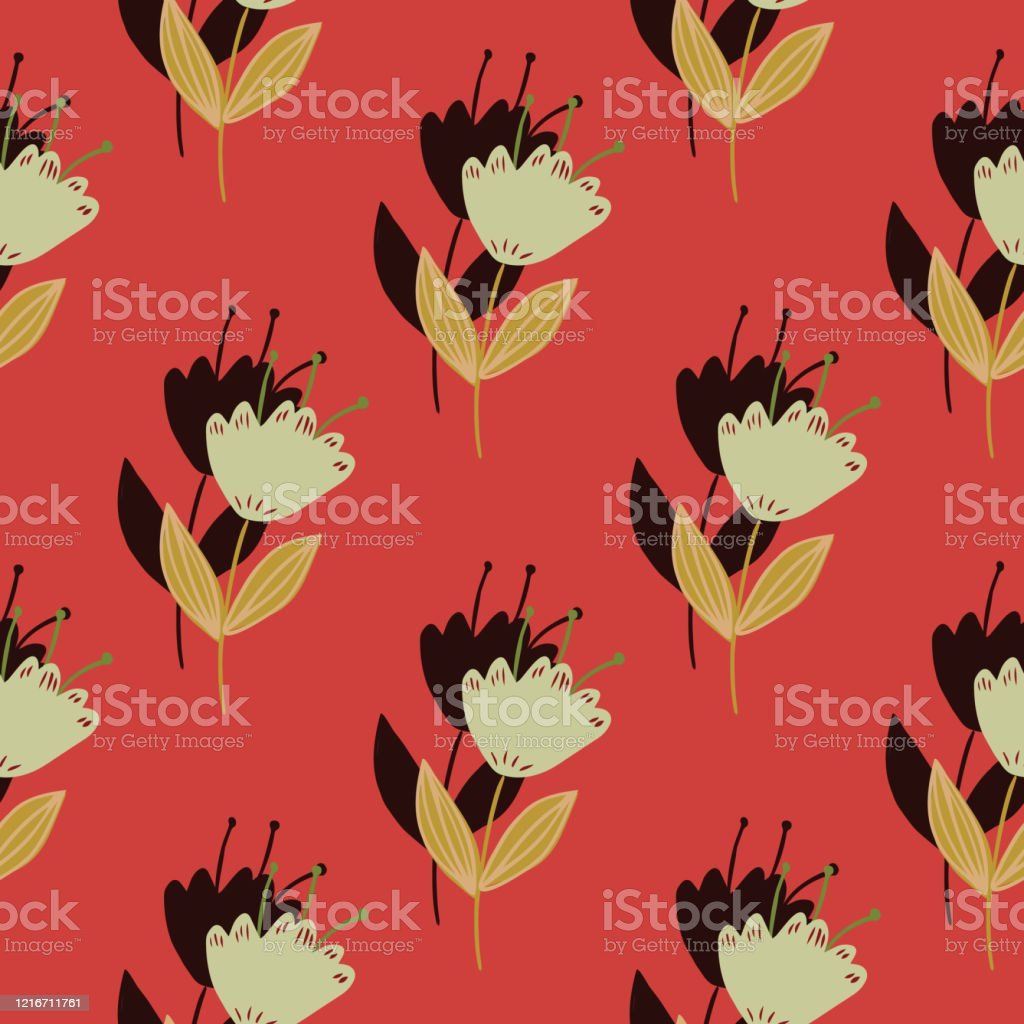Geometric Vintage Flowers Seamless Pattern On Red Background Abstract Floral Wallpaper Stock Illustration Download Image Now Istock