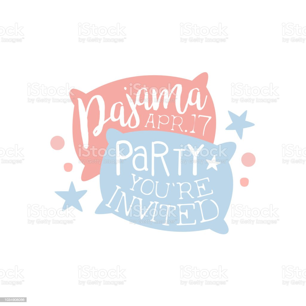 modele de carte invitation party pyjama girly avec deux oreillers invitant les enfants pour la soiree pyjama nuit de sommeil pyjama vecteurs libres de droits et plus d images vectorielles de affiche