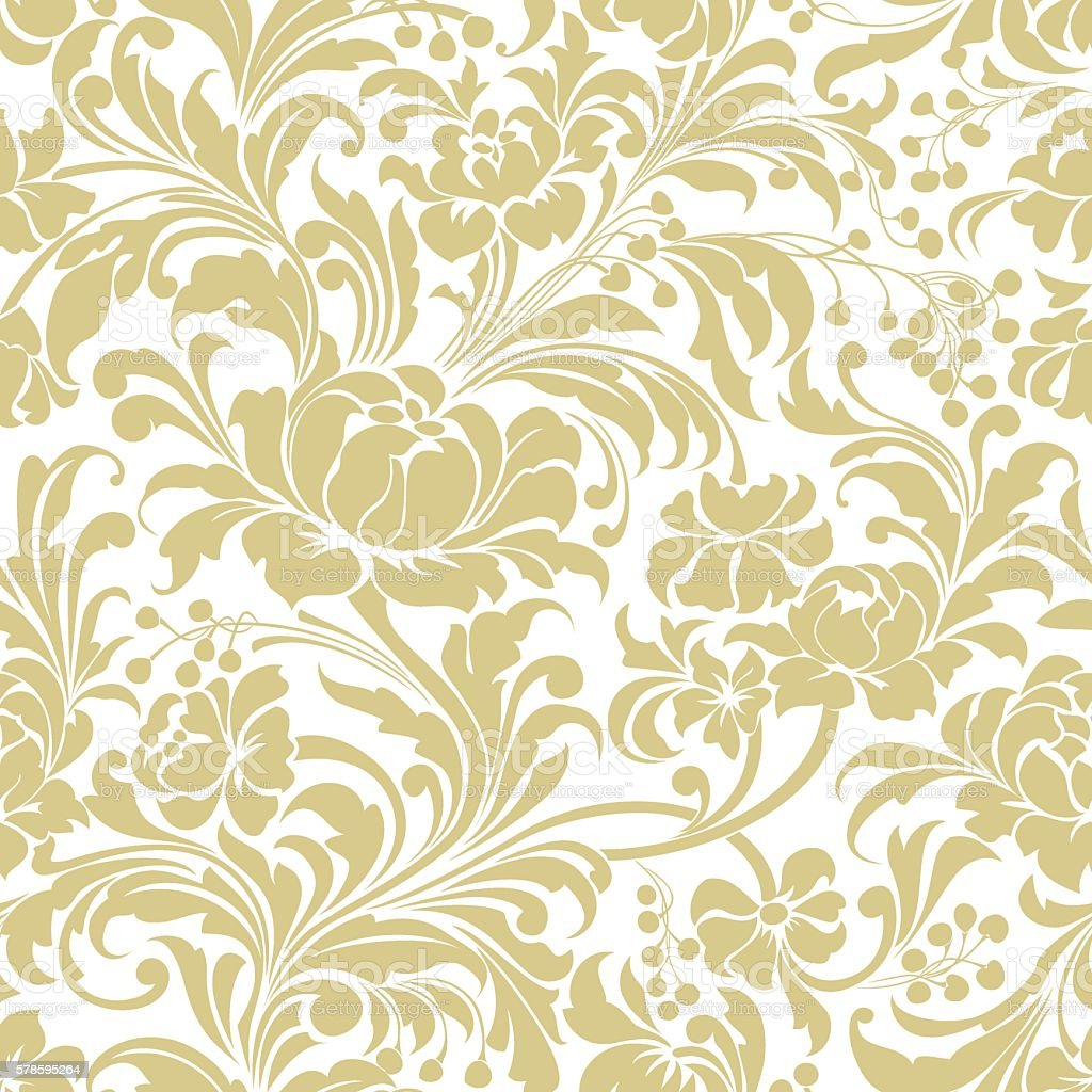 Gold Seamless Floral Vector Background Stock Illustration Download Image Now Istock