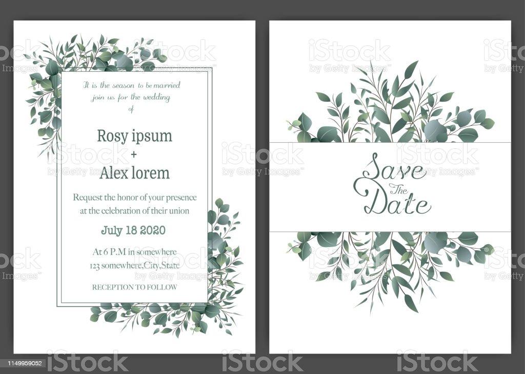 Greenery Wedding Invitation Template Eucalyptus Wedding