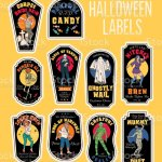 Halloween Bottle Labels Potion Labels With Monsters Stock Illustration Download Image Now Istock