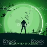 Halloween Is Coming Beautiful Horizontal Greeting Postcard With Green Halloween Landscape Werewolf Big Full Moon And Zombie Stock Illustration Download Image Now Istock