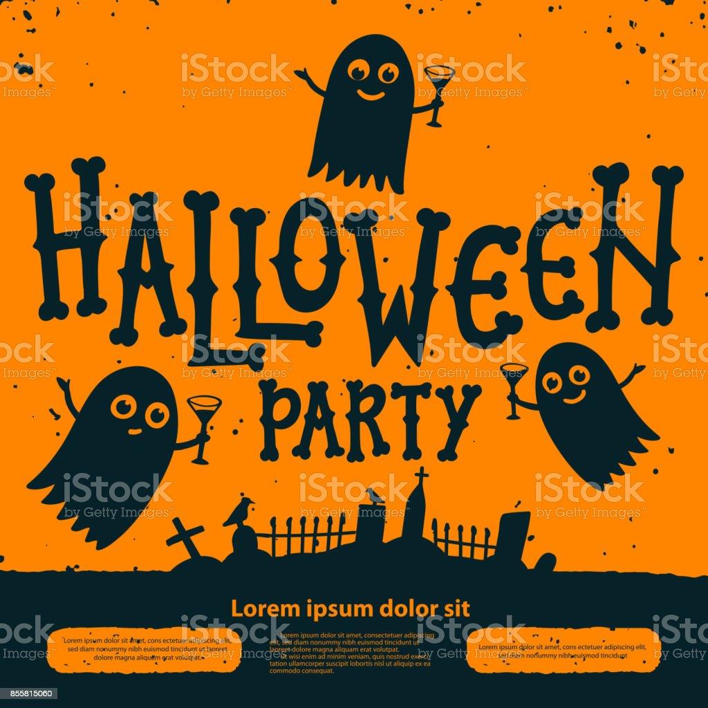 carte dinvitation de fete halloween halloween party invitation flyer fantomes avec des cocktails au cimetiere sur fond orange flyer de halloween avec texte fete dhalloween sur une texture grunge vecteurs libres de