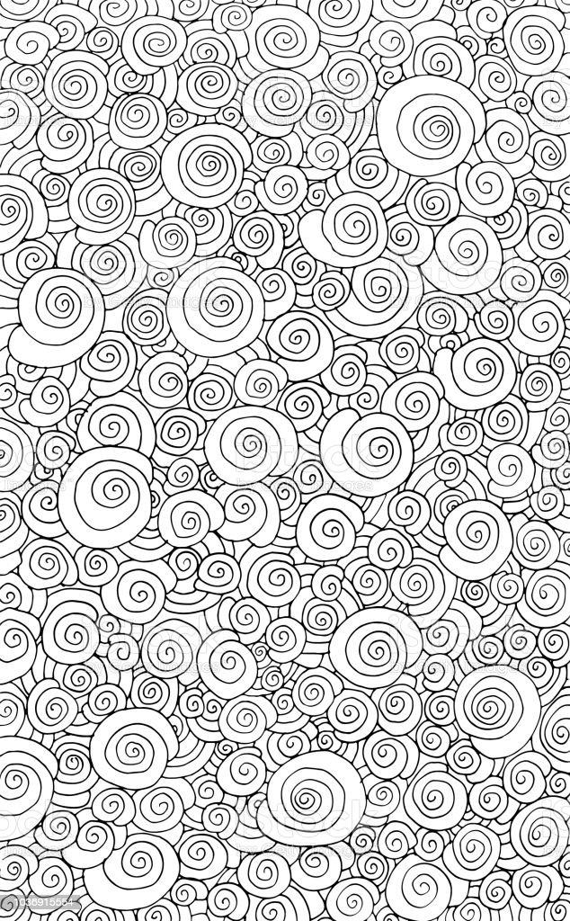 Hand Drawn Doodle Difficult Circle Abstract Adult Coloring