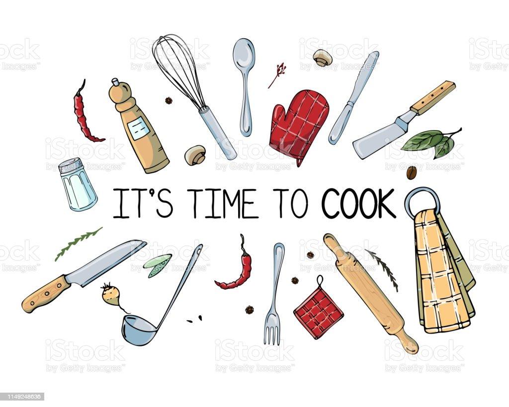 illustration dessinee a la main avec des ustensiles de cuisine dessin vectoriel reel des outils de cuisiniere et citation creative doodle style encre art travail ensemble de cuisine et texte il est