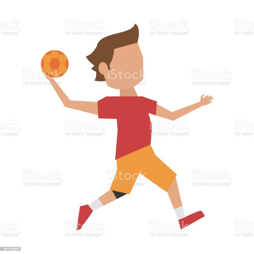 handball spieler cartoon stock vektor art und mehr bilder von athlet istock