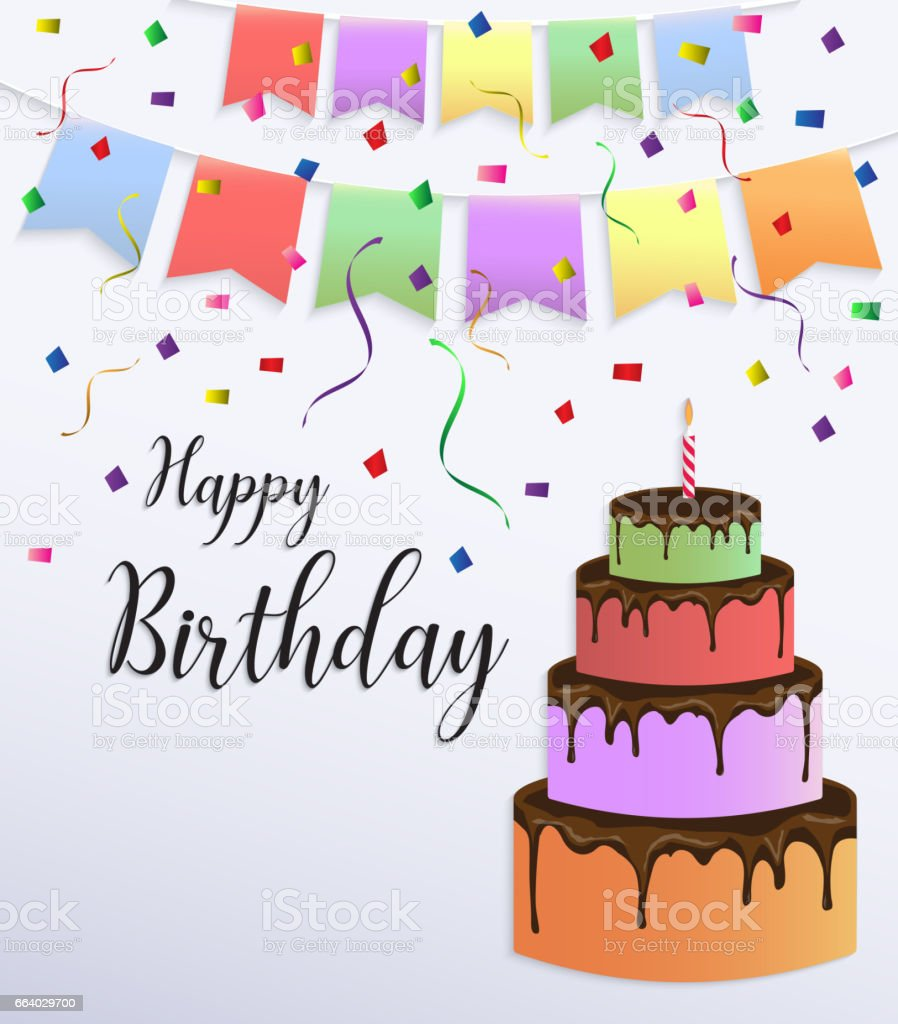 Happy Birthday Card Design Mit Bunten Grossen Kuchen Stock Vektor Art Und Mehr Bilder Von Backerei Istock