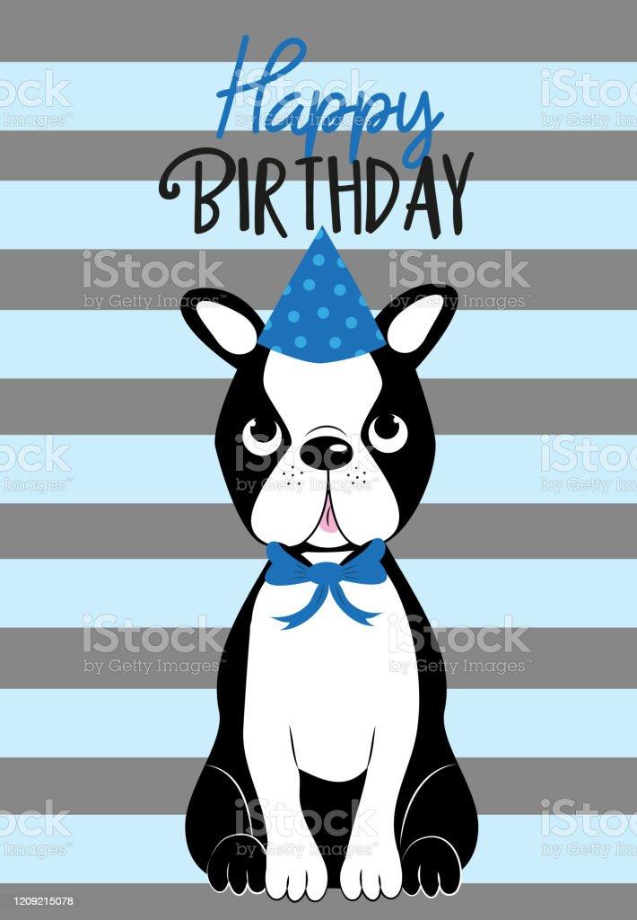 Alles Gute Zum Geburtstag Text Mit Niedlichen Boston Terrier Auf Gestreiften Muster Stock Vektor Art Und Mehr Bilder Von Bedecken Istock