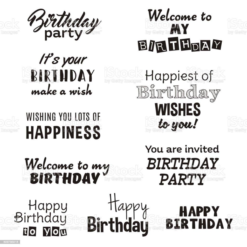 Happy Birthday Typography Text Isolated On White Background Stock Vektor Art Und Mehr Bilder Von Altertumlich Istock