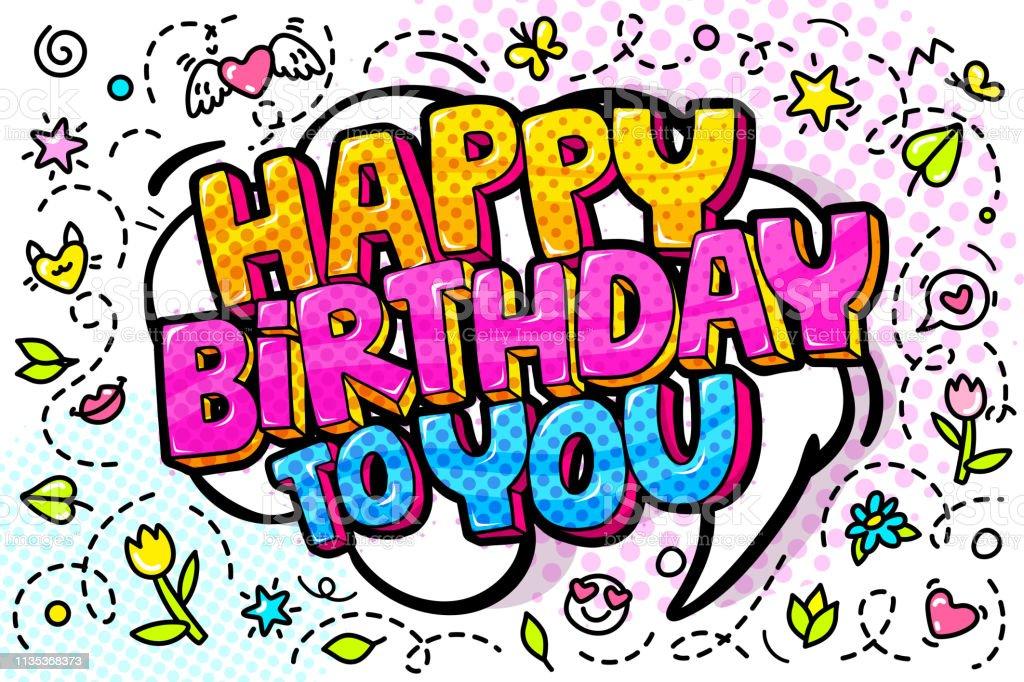 1 018 Happy Birthday Bubble Letters Illustrations Clip Art Istock
