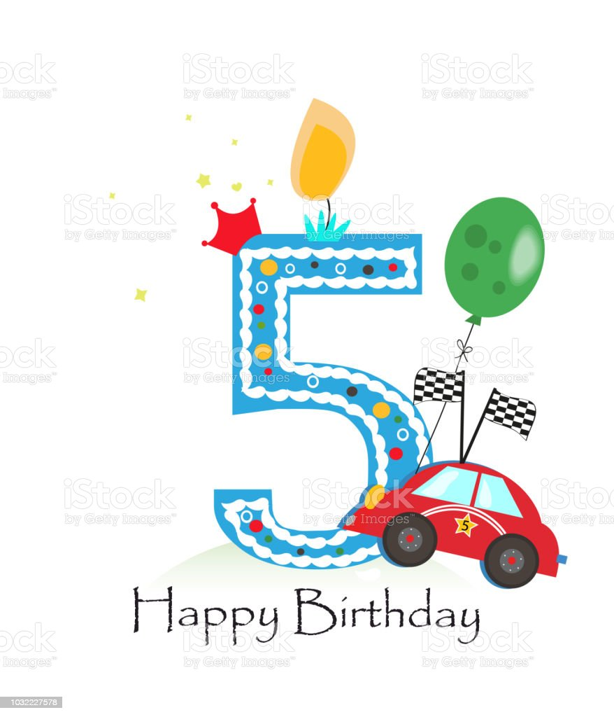 Happy Fifth Birthday Candle Baby Boy Greeting Card With Race Car Stock Illustration Download Image Now Istock