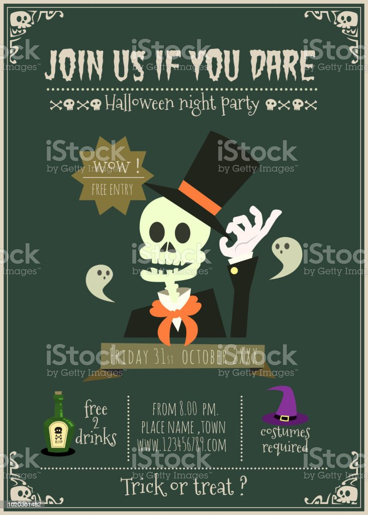 happy halloween party invitation card stock illustration download image now istock