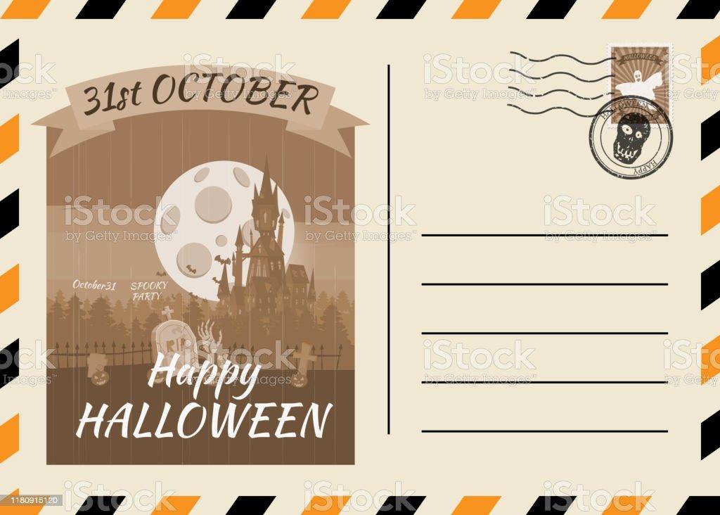 https www istockphoto com fr vectoriel mod c3 a8le heureux dinvitation de carte postale dhalloween avec la conception de gm1180915120 330996100