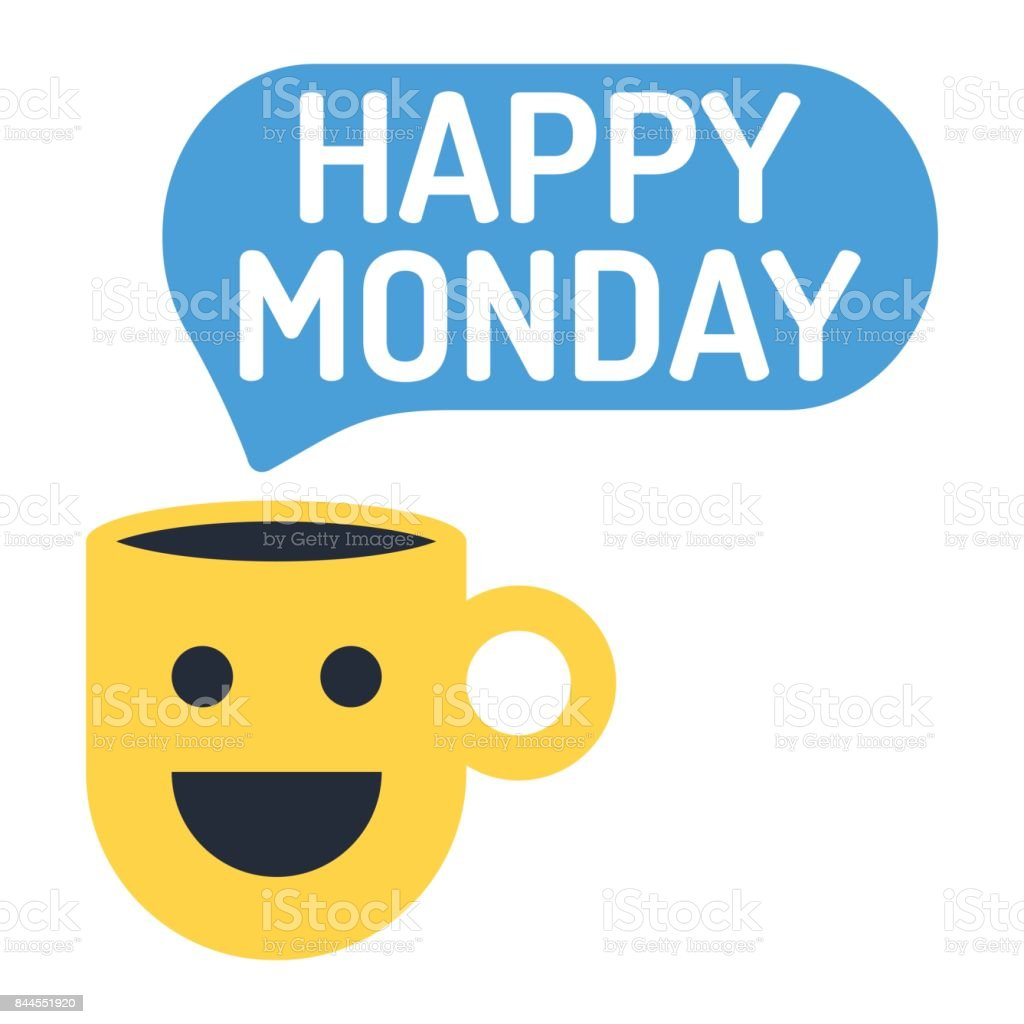 Happy Monday Cup With Speech Bubble Icon Flat Vector