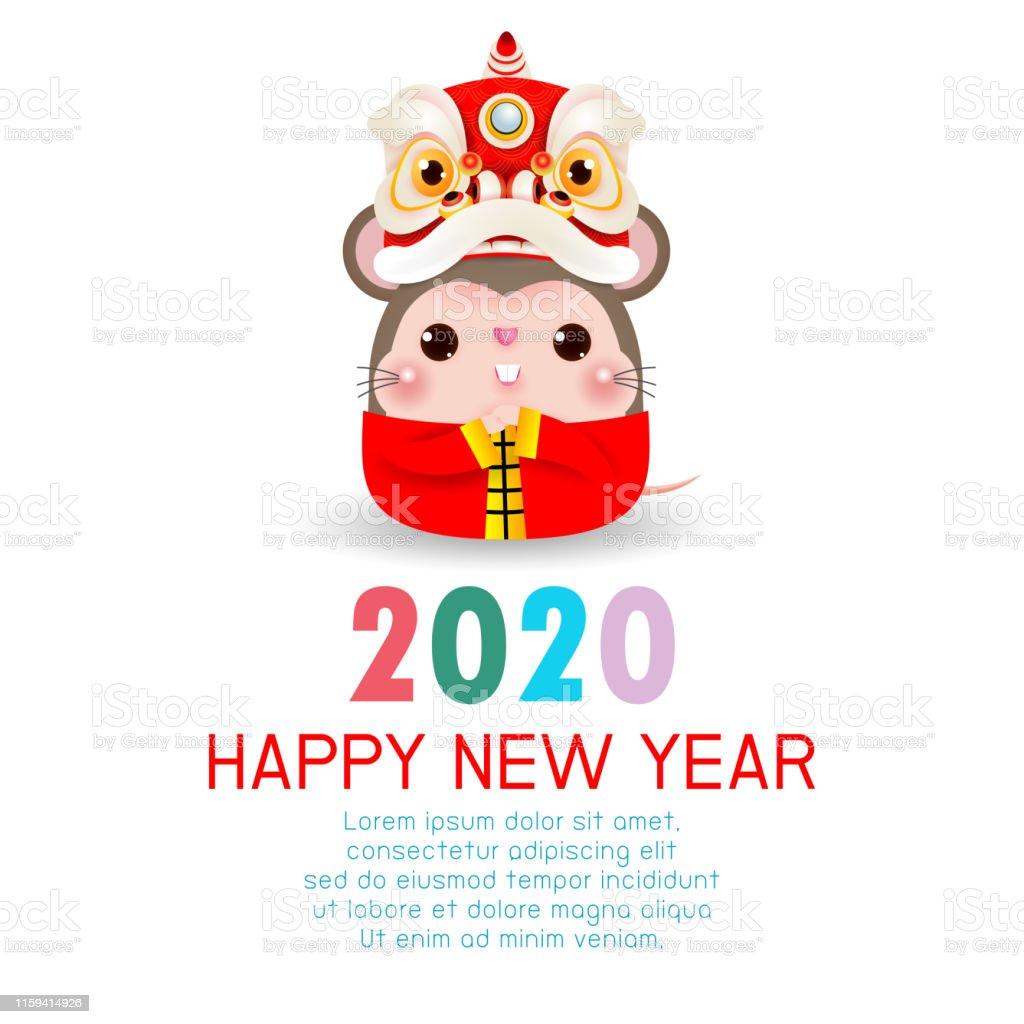 2020年新年快樂中國新年鼠年新年快樂賀卡與可愛的小老鼠與舞獅頭背景插圖向量向量圖形及更多中國文化圖片 ...