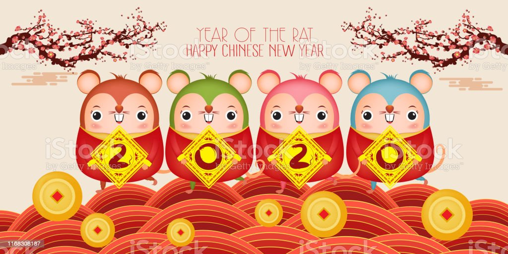 Happy New Year 2020 Five Little Rats Holding A Sign Golden Chinese Characters 2020 The Year Of The Rat Translation Happy New Year Stock ...