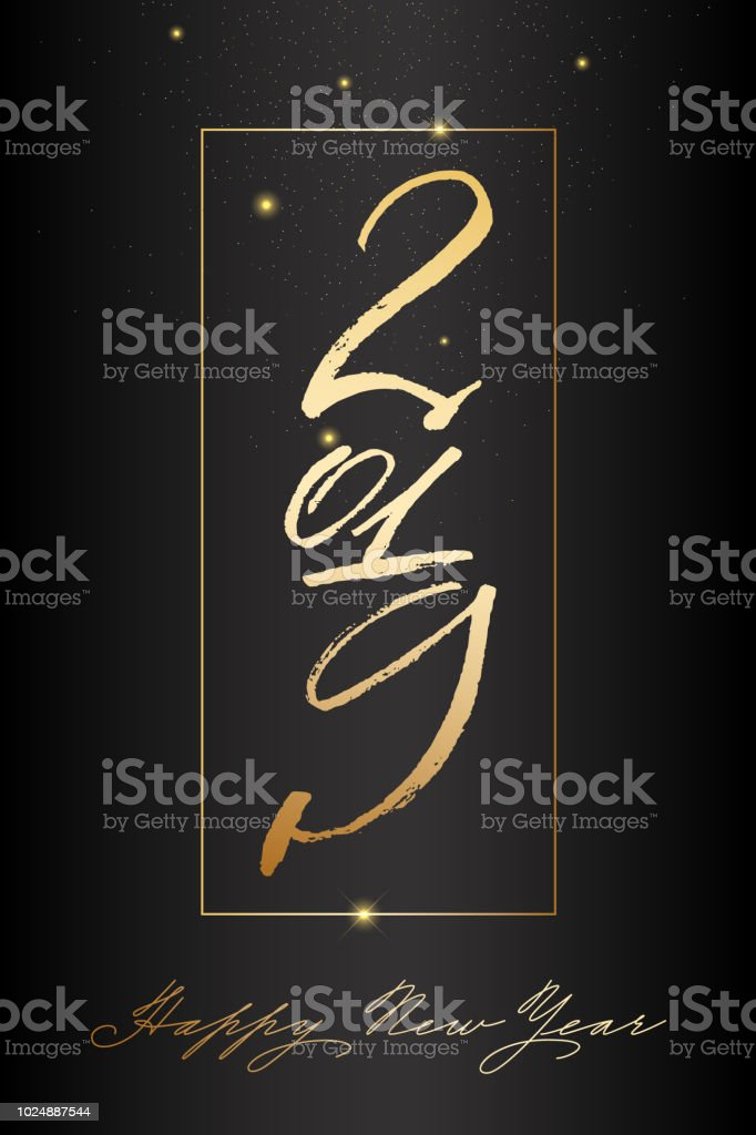Happy New Year Post With Nice Lettering 2019 In Gold Color Stock     Happy new year post with nice lettering 2019 in gold color royalty free  happy new