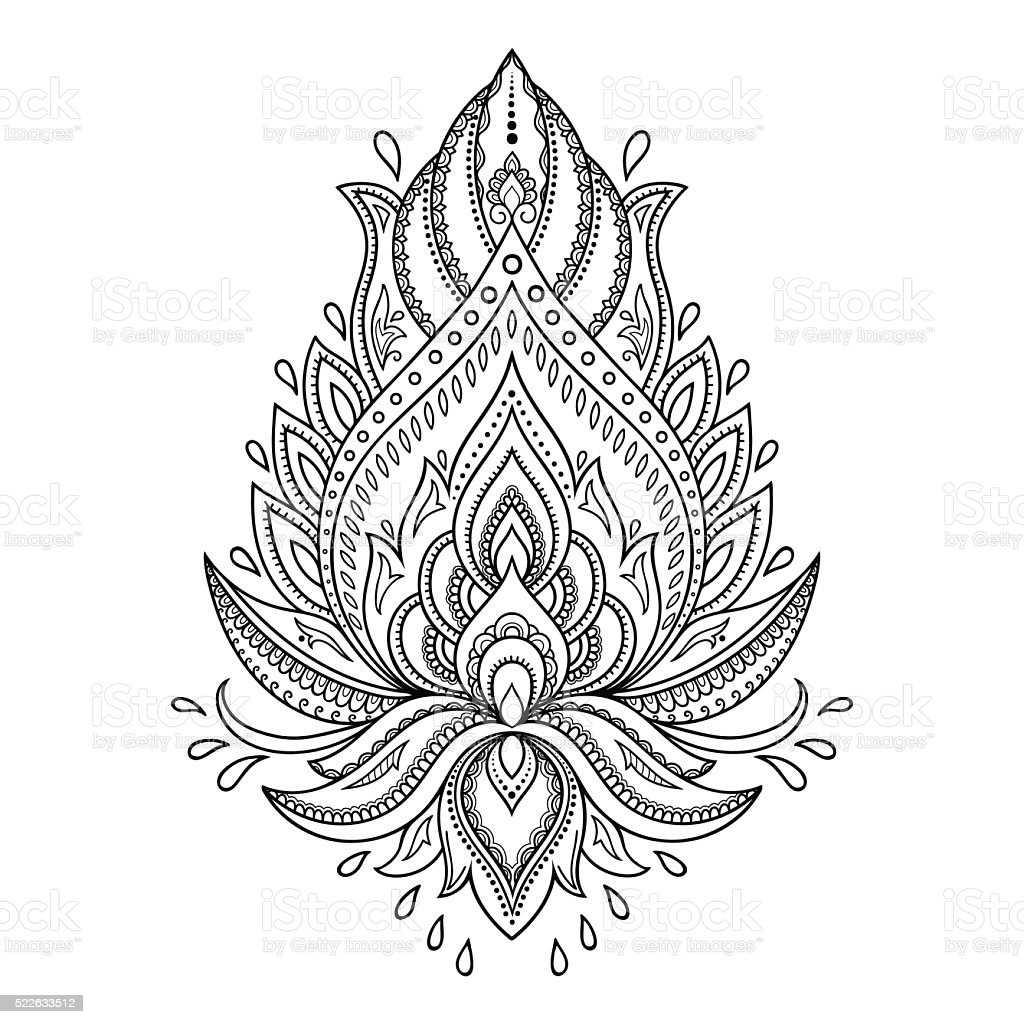 Henna Lotus Flower Coloring Pages