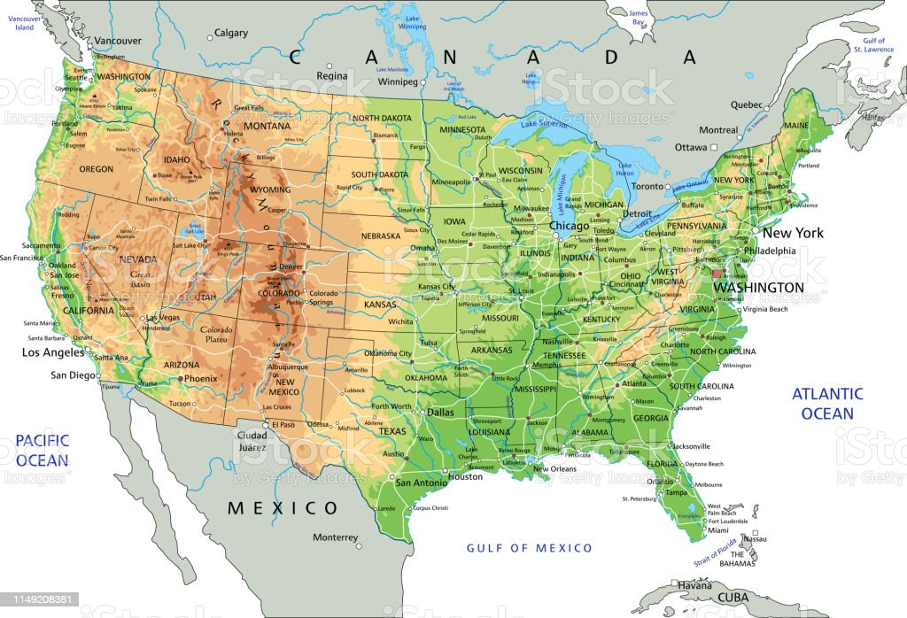 High Detailed United States Of America Physical Map With Labeling Stock Illustration Download Image Now Istock