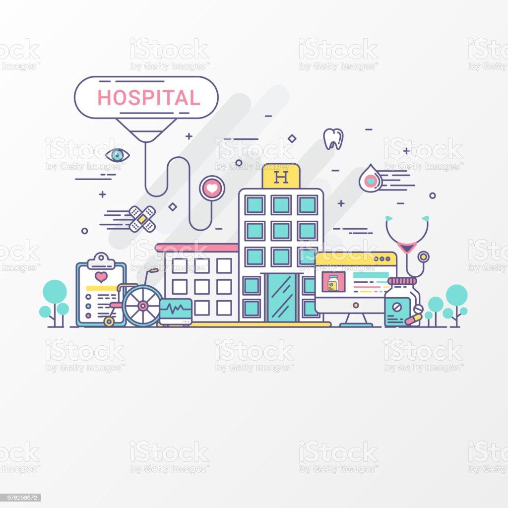 醫院理念醫學向量圖像平線式集醫療保健包括圖示元素 聽診器 藥房 輪椅 醫院網站用於圖形醫療醫院傳單資訊 ...