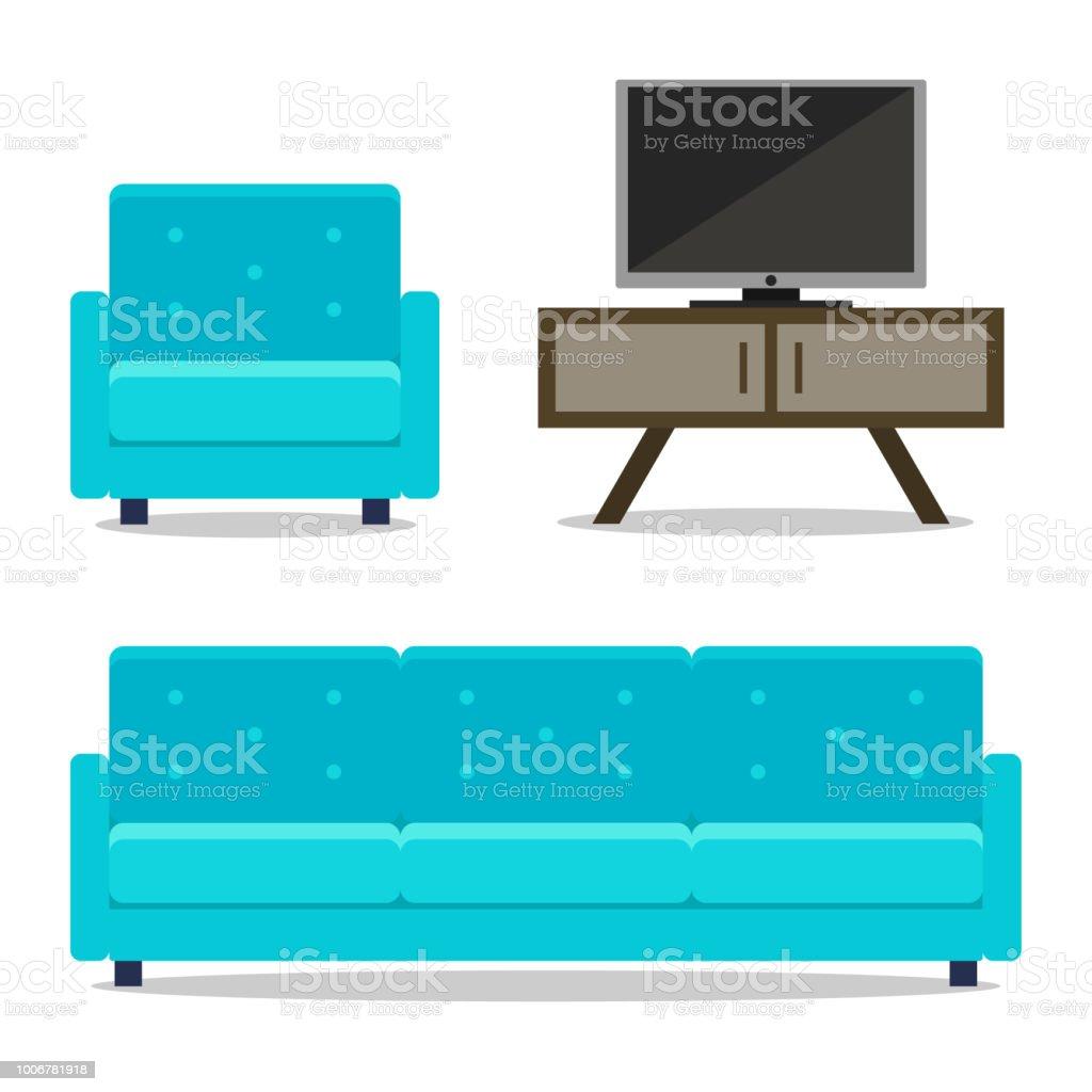 https www istockphoto com fr vectoriel maison meubles canap c3 a9 et fauteuil avec tv pour chambre gm1006781918 271705614