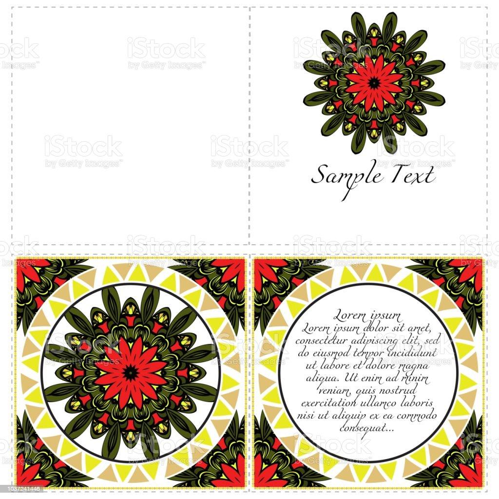 https www istockphoto com vector invitation or card template with floral mandala pattern decorative background for gm1037241446 277661860