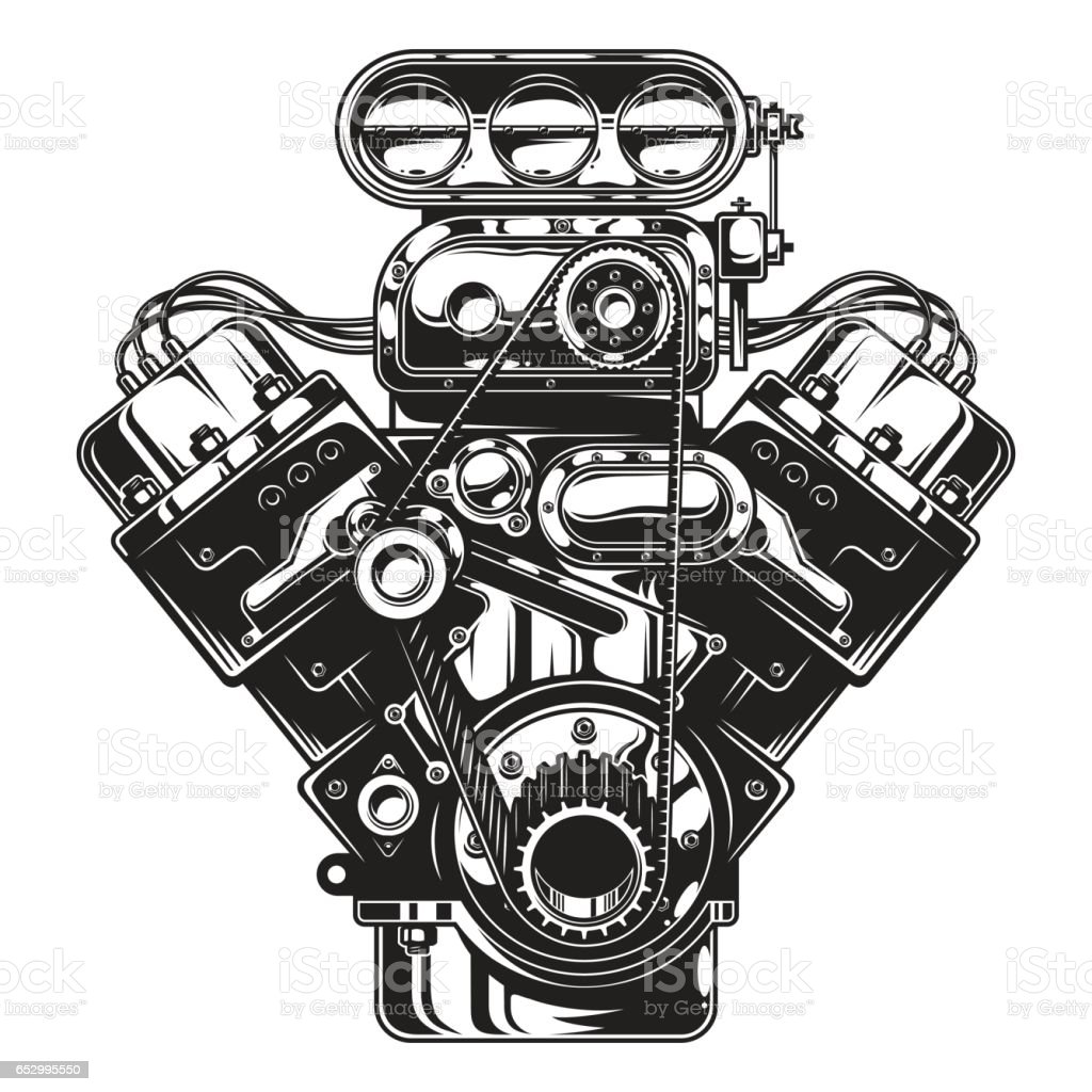 Isolated Monochrome Illustration Of Car Engine Stock