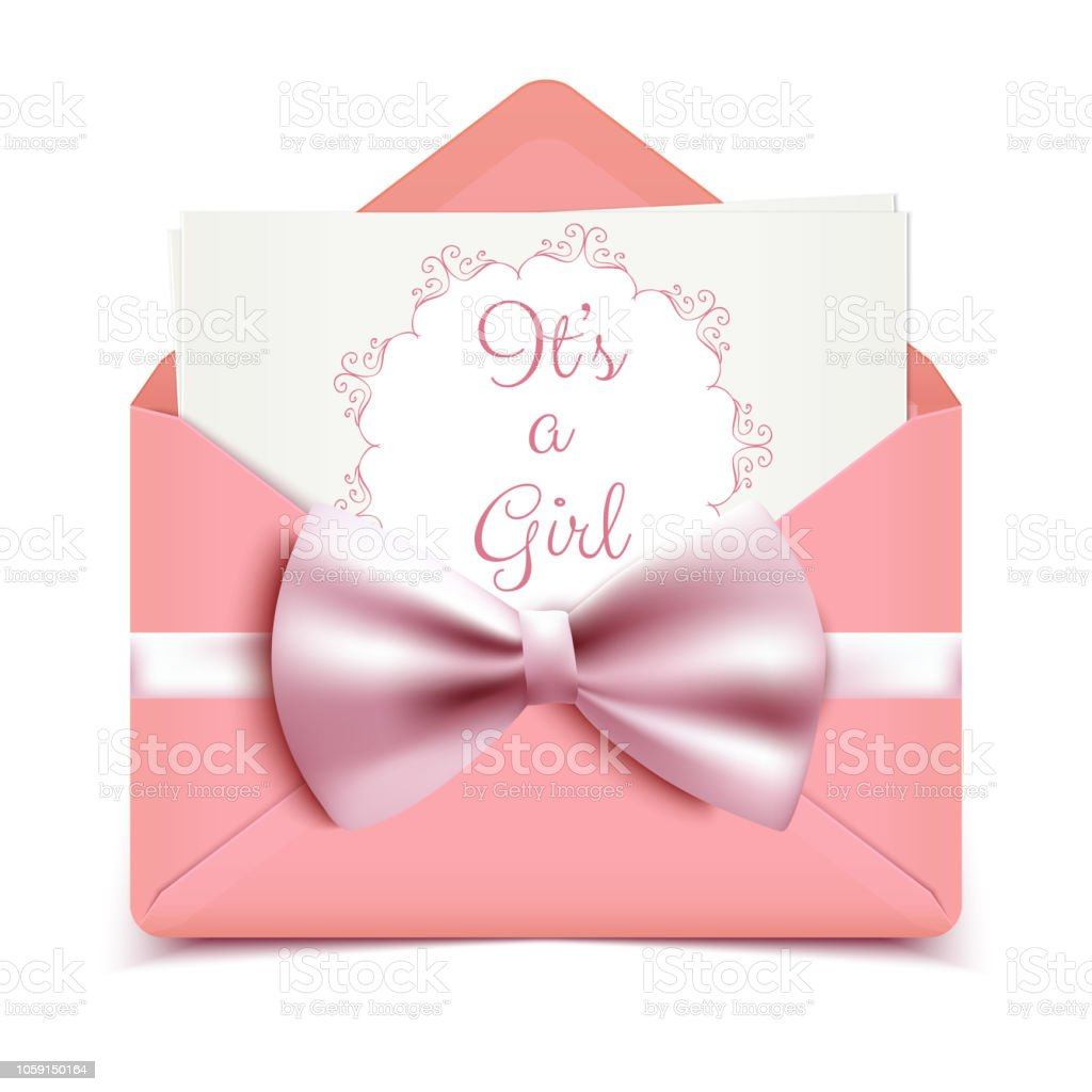 https www istockphoto com fr vectoriel cest une fille b c3 a9b c3 a9 douche jolie carte invitation avec enveloppe rose et larc gm1059150164 283091992