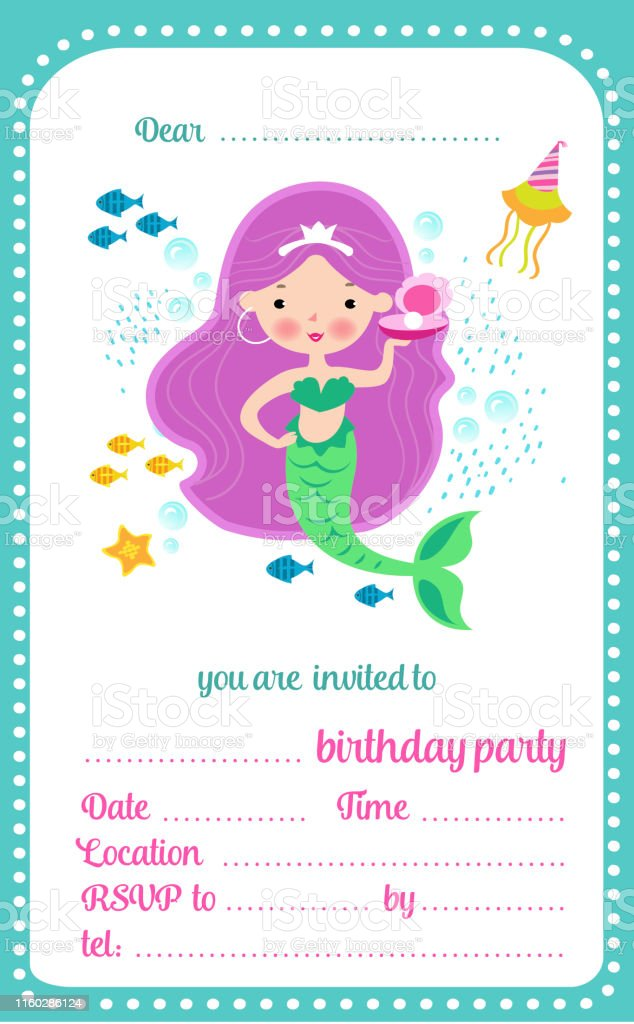 kids birthday party invitation template card with cute little mermaid and a place for text vector illustration stock illustration download image now istock