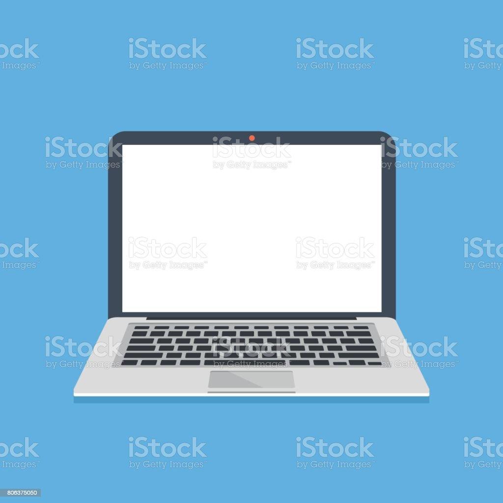 ordinateur portable avec ecran blanc mince moderne notebook avec un ecran vide vide modele dordinateur portable elements graphiques design plat moderne illustration vectorielle vecteurs libres de droits et plus d images vectorielles de
