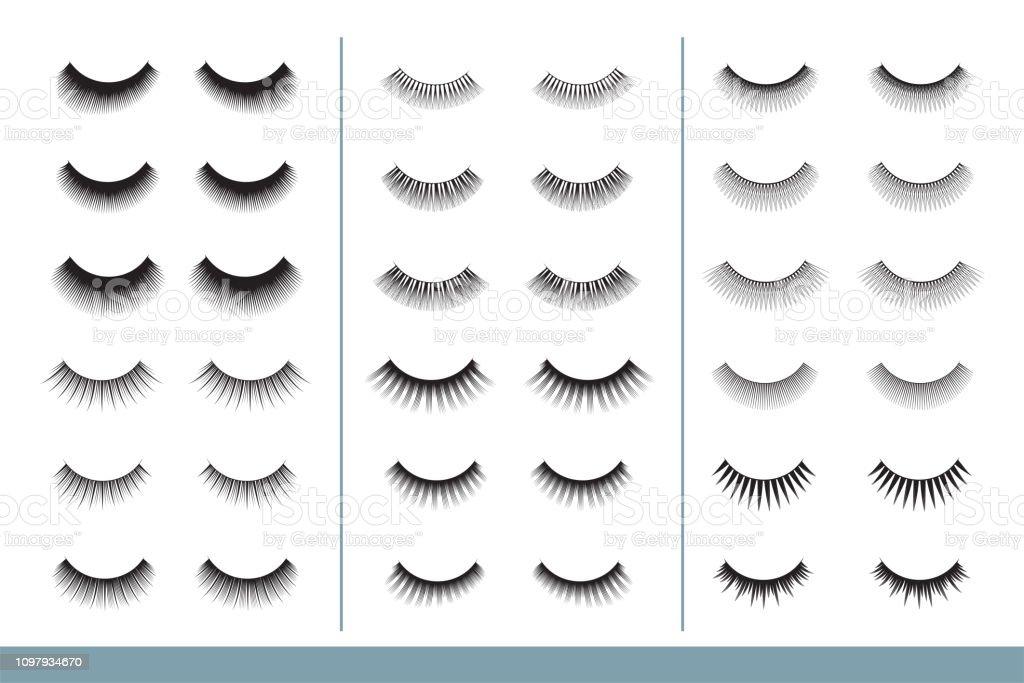 wimpernsammlung verschiedene formen von falschen wimpern geschlossenen augen eyelash extension guide vektorillustration professionelle glamour makeup ausbildungposter stock vektor art und mehr bilder von accessoires istock