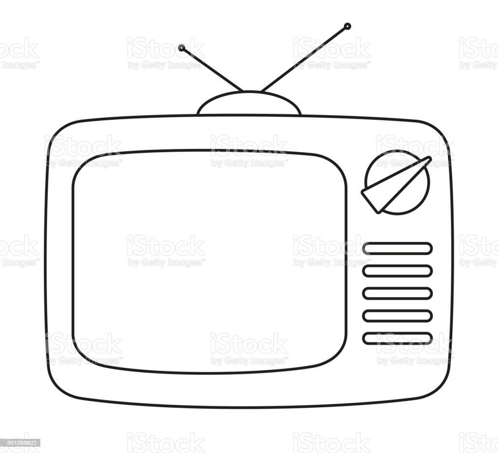dessin au trait noir et blanc retro tv vecteurs libres de droits et plus d images vectorielles de abstrait istock