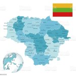 Lithuania Administrative Bluegreen Map With Country Flag And Location On A Globe Stock Illustration Download Image Now Istock