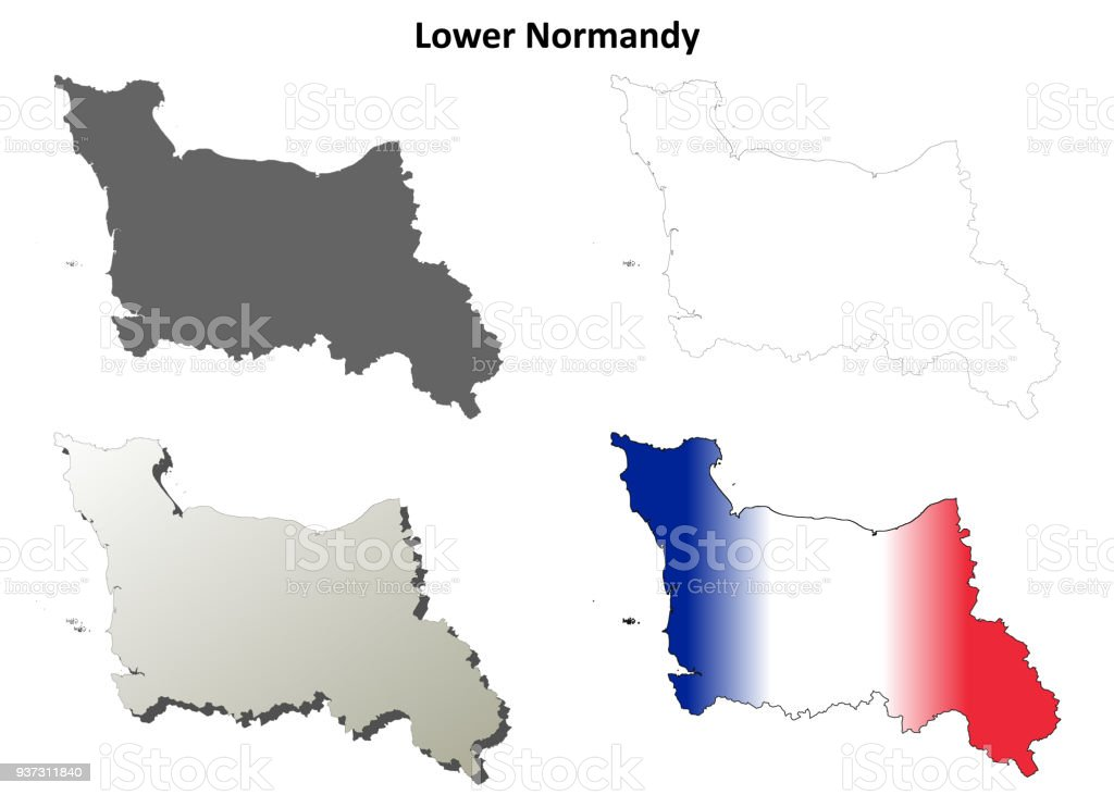 Lower Normandy Blank Outline Map Set Stock Vector Art   More Images     Lower Normandy blank outline map set royalty free lower normandy blank  outline map set stock