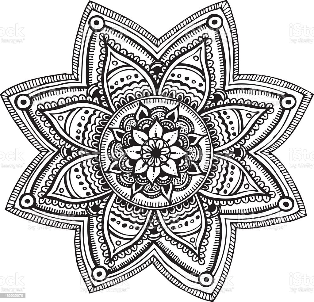 Mandala Hand Drawn Ornament Stock Vector Art Amp More Images