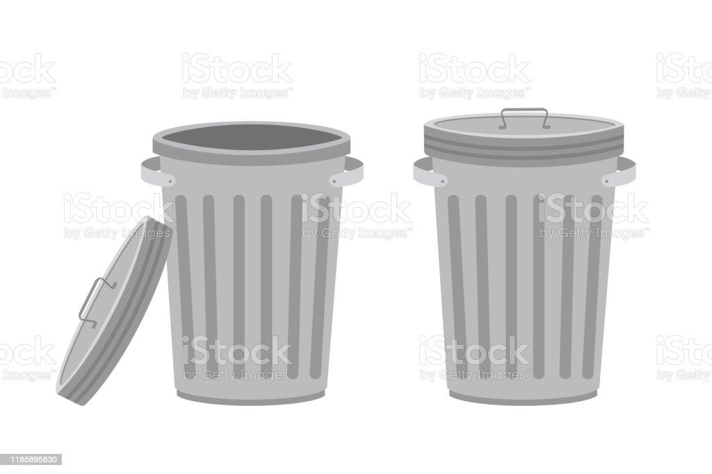 poubelle en metal boites a ordures avec couvercle ouvert et ferme isole sur le blanc vecteurs libres de droits et plus d images vectorielles de acier istock