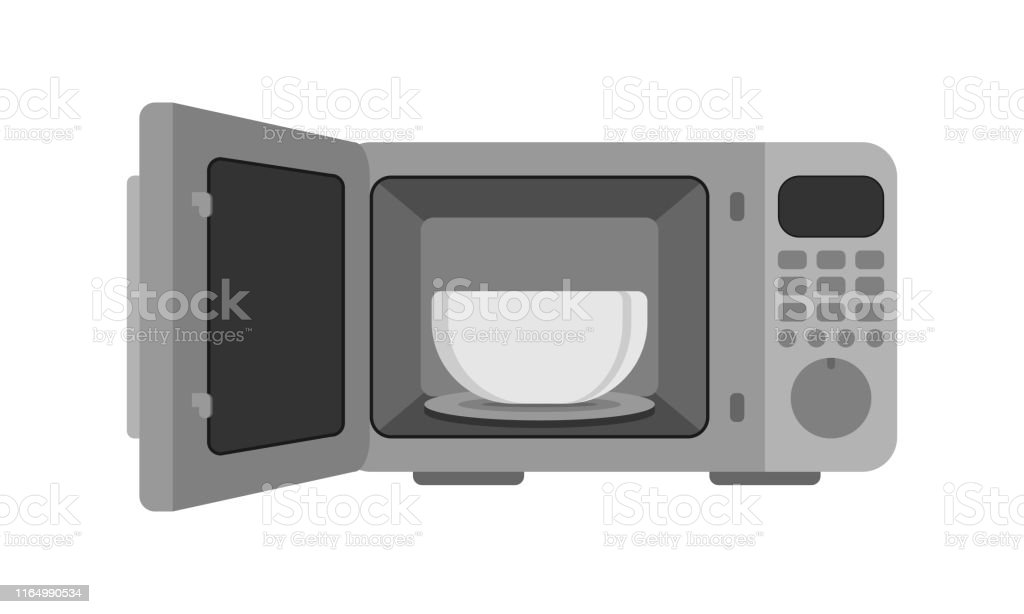 microwave oven vector illustration microwave with dish an automatic appliances used for cooking stock illustration download image now istock