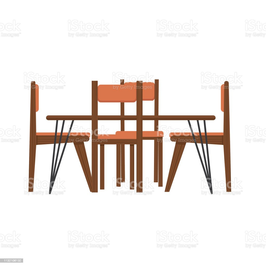 Midcentury Modern Table And Chairs Stock Illustration