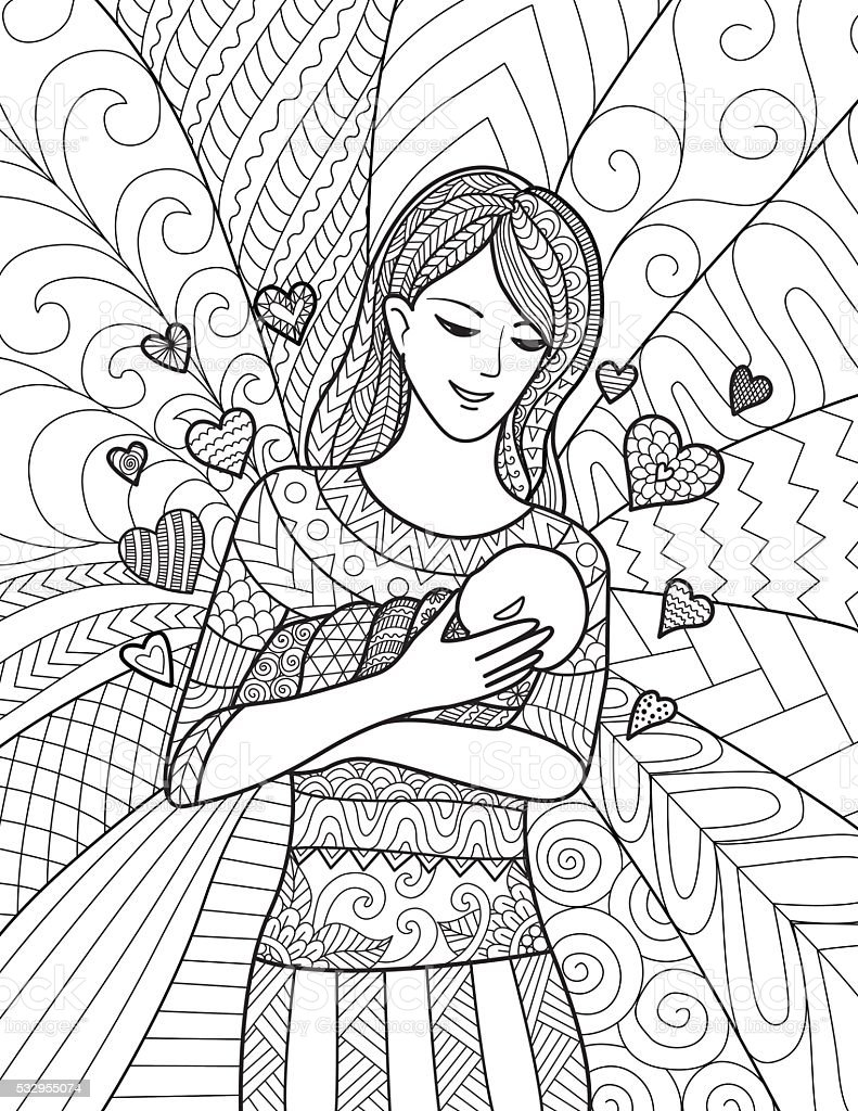 Mermaid Mother And Daughter Coloring Pages