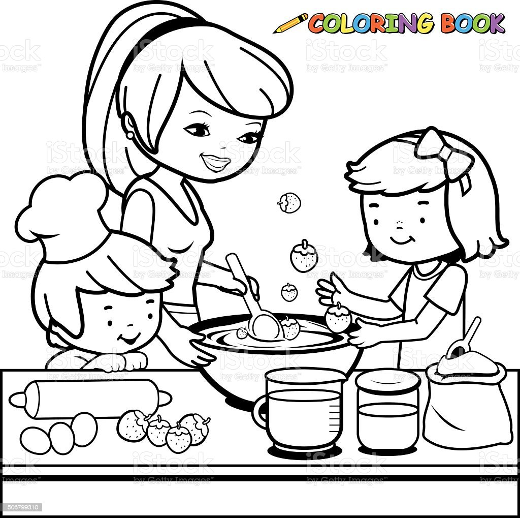 Coloring pages kitchen - Mother And Children Cooking In The Kitchen Coloring Book Page Stock Gallery