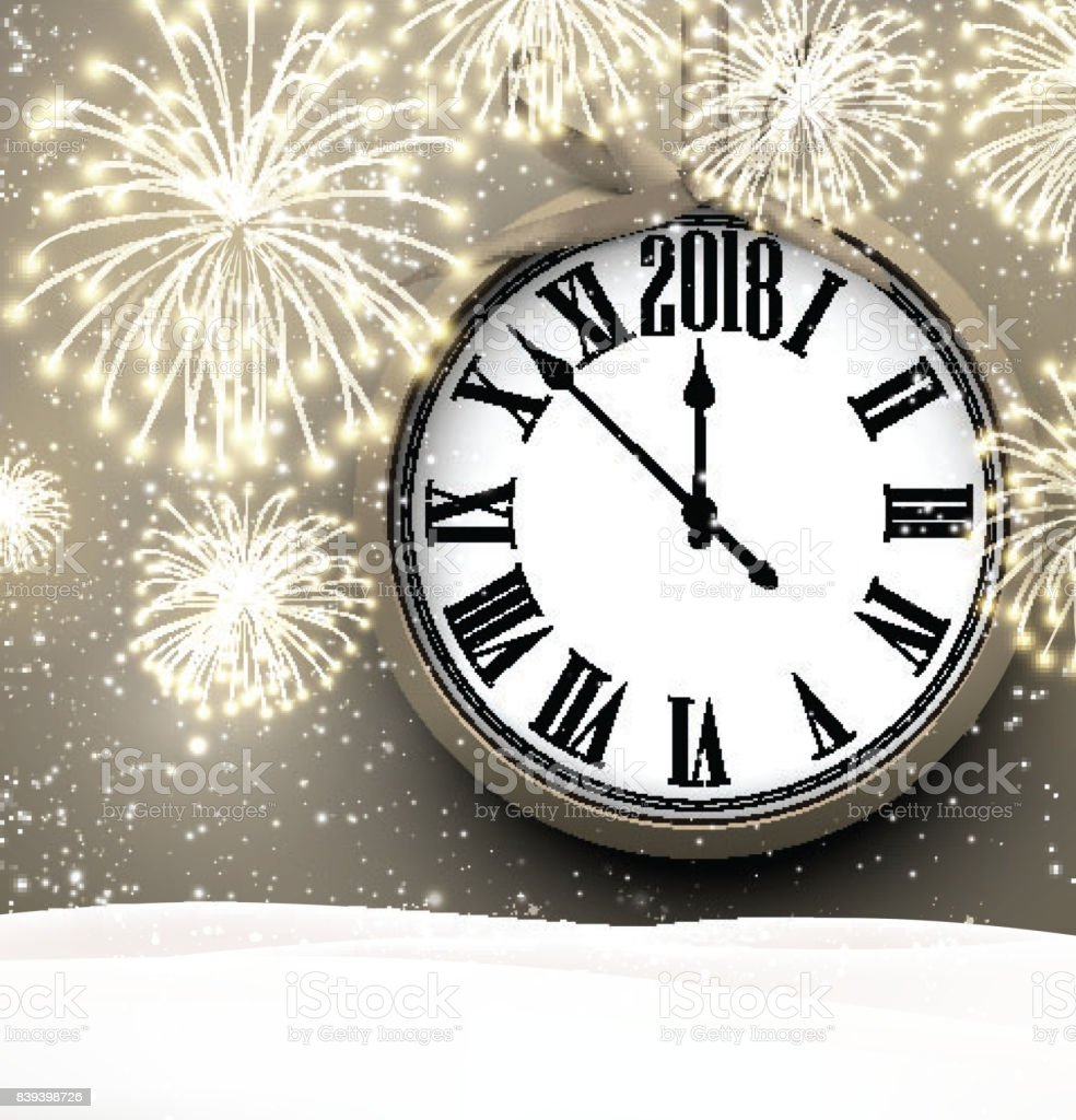 2018 New Year Background With Clock Stock Vector Art   More Images     2018 New Year background with clock  royalty free 2018 new year background  with clock