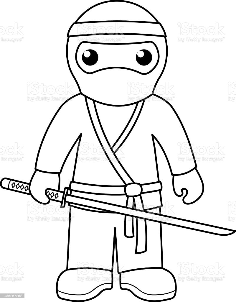Ninja Coloring Page For Kids Stock Vector Art More Images Of