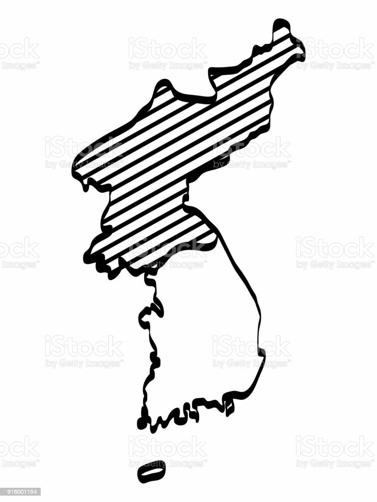 North And South Korea Map Outline Graphic Freehand Drawing On White Background Vector Illustration Stock Illustration Download Image Now Istock