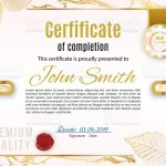 Official White Certificate With Pink Gold Marble Design Elements Modern Design For Business Stores Gold Emblem Stock Illustration Download Image Now Istock
